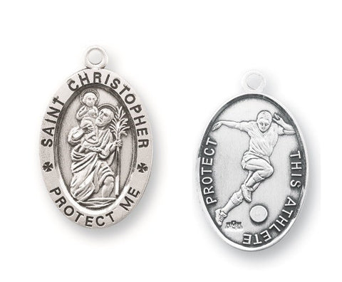 Saint Christopher Oval Sterling Silver  Soccer Athlete Medal