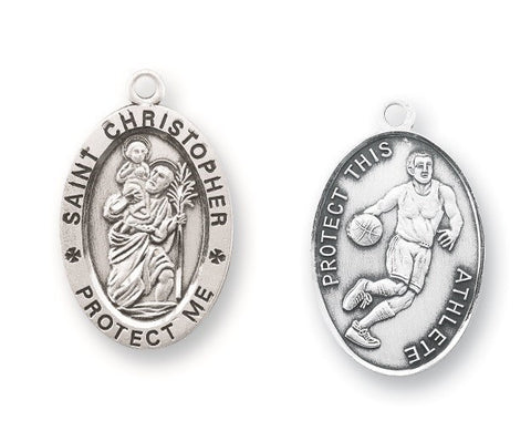 Saint Christopher Oval Sterling Silver Basketball Athlete Medal