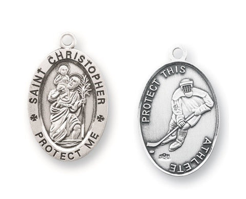 Saint Christopher Oval Sterling Silver Hockey Athlete Medal