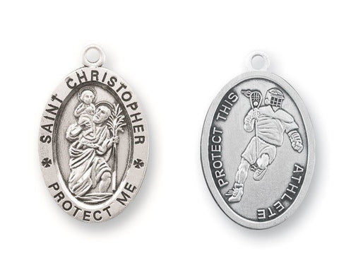 Saint Christopher Oval Sterling Silver Lacrosse Athlete Medal