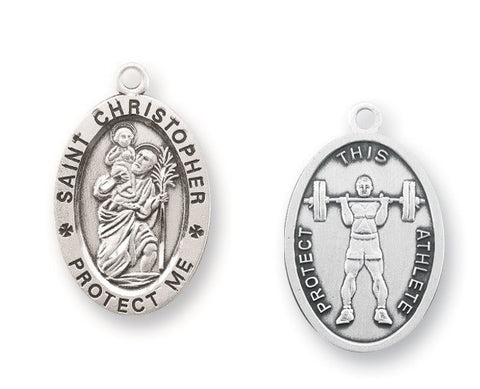 Saint Christopher Oval Sterling Silver Weight Lifting Athlete Medal