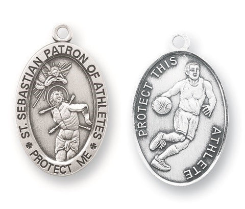 Saint Sebastian Oval Sterling Silver Basketball Athlete Medal