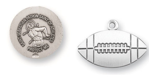 Saint Sebastian Sterling Silver  Football Athlete Medal