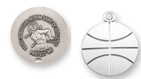 Saint Sebastian Sterling Silver Basketball Athlete Medal