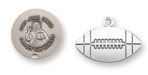 Lord Jesus Christ Sterling Silver Football Medal