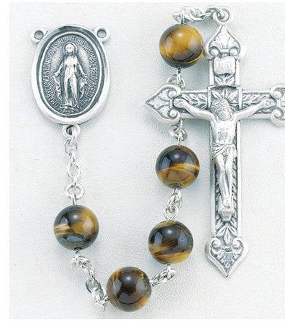 Genuine Tiger Eye Sterling Silver Rosary