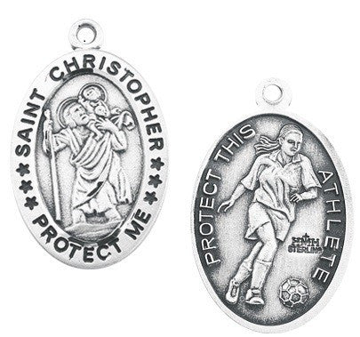 Saint Christopher Oval Sterling Silver Female Soccer Athlete Medal