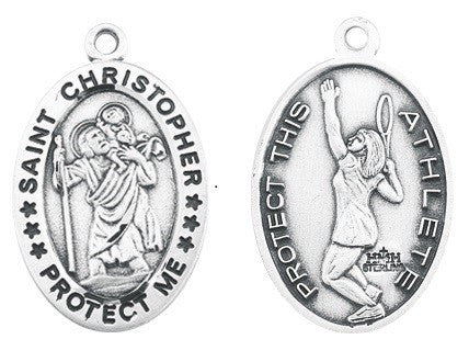 Saint Christopher Oval Sterling Silver Female Tennis Athlete Medal