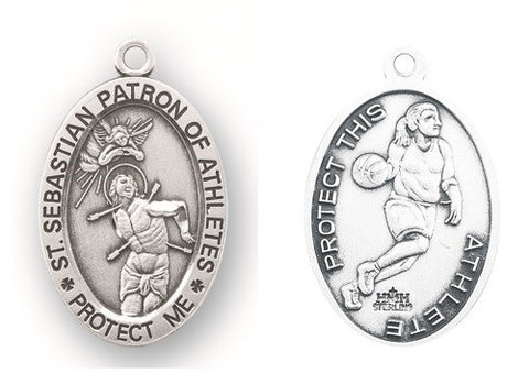 Saint Sebastian Oval Sterling Silver Female Basketball Athlete Medal