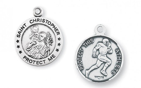 Saint Christopher Round Sterling Silver Football Athlete Medal