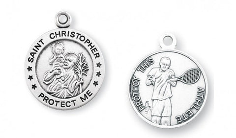 Saint Christopher Round Sterling Silver Tennis Athlete Medal