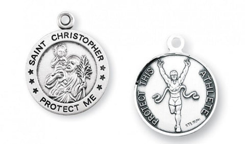 Saint Christopher Round Sterling Silver Track Athlete Medal