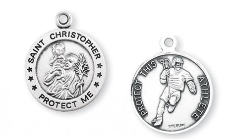 Saint Christopher Round Sterling Silver Lacrosse Athlete Medal