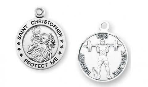 Saint Christopher Round Sterling Silver Weight Lifting Athlete Medal