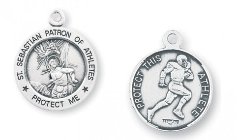 Saint Sebastian Round Sterling Silver Football Athlete Medal