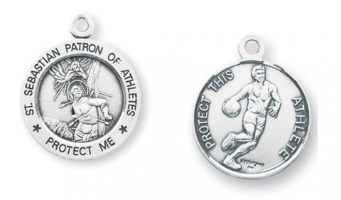 Saint Sebastian Round Sterling Silver Basketball Athlete Medal