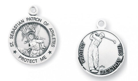 Saint Sebastian Round Sterling Silver Golf Athlete Medal