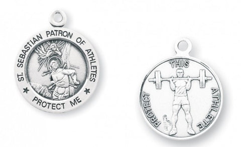 Saint Sebastian Round Sterling Silver Weight Lifting Athlete Medal