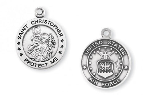 Sterling Silver Air Force Medal with St. Christopher on Reverse Side