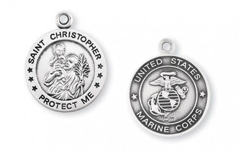 Sterling Silver Marines Medal with St. Christopher on Reverse Side