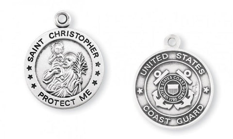 Sterling Silver Coast Guard Medal with St. Christopher on Reverse Side
