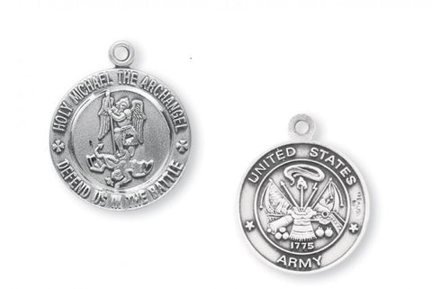 Sterling Silver Army Medal with St. Michael on Reverse Side