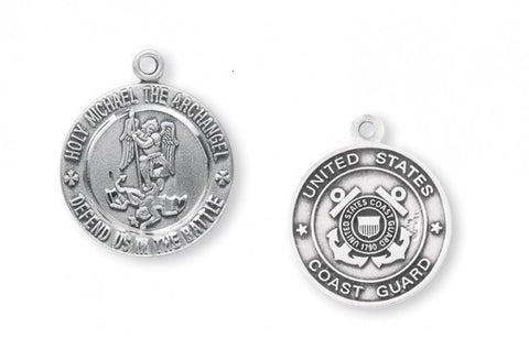 Sterling Silver Coast Guard Medal with St. Michael on Reverse Side