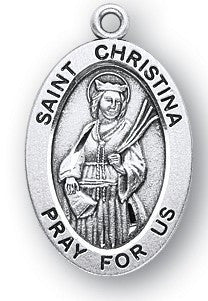 Saint Christina Oval Sterling Silver Medal