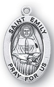 Saint Emily Oval Sterling Silver Medal