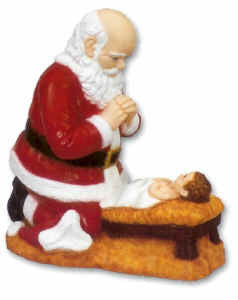 Outdoor Statue - Santa and Baby Jesus 24""