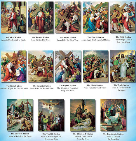 Stations of the Cross Wood Framed Canvas (Gallery Wrapped) - Discount Catholic Store