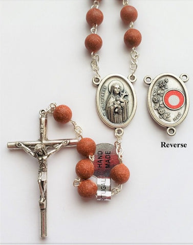 Genuine Rose Petal Rosary with St. Therese Relic