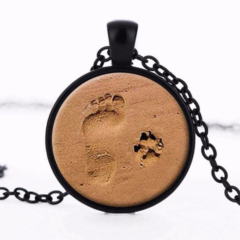 wooden saja product products necklace footprint