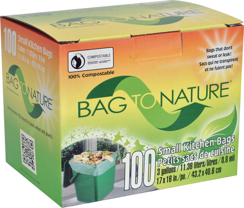 Bag to Nature small kitchen bags value pack 100 bags STRAIGHT BOTTOM SEAL