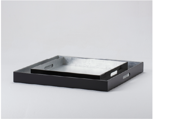 Lacquer Tray - Black with Silver Inlay