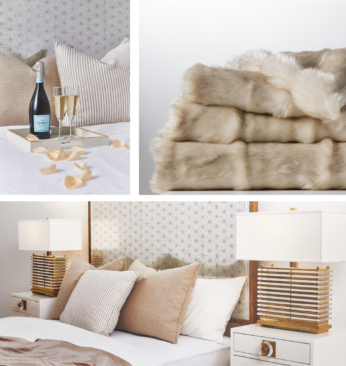 Gilded Star Bed and Faux Fur Throw in Warm Ivory