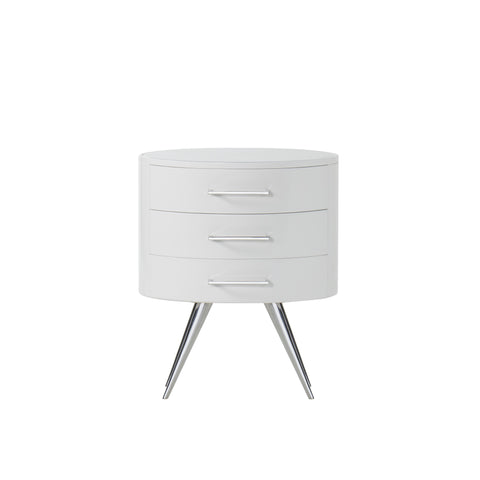 Diaz Nightstand - Gloss White / Stainless Steel