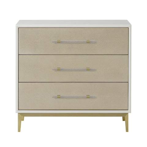 Alice Nightstand - 3 Drawer / Emboss Faux Shagreen / Ivory