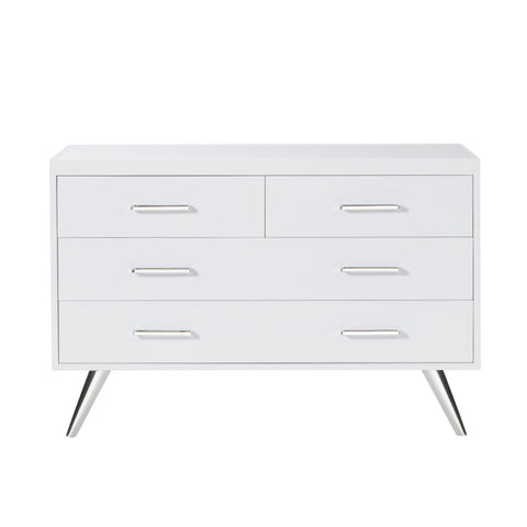 Diaz Chest - 4 Drawer / Gloss White / Stainless Steel