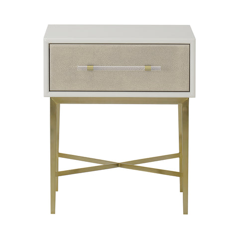 Alice Nightstand - 1 Drawer Emboss Faux Shagreen / Ivory