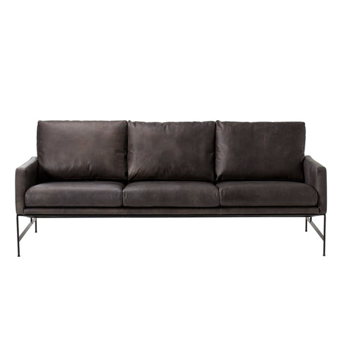 Vanessa 3 Seater Sofa - Destroyed Black Leather
