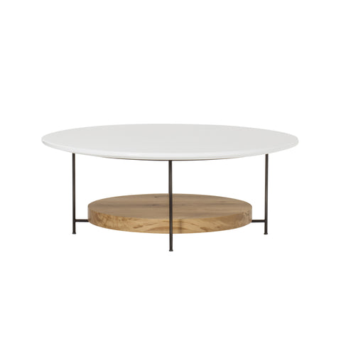"Olivia Coffee Table - 42"" Dia. / White Lacquer"