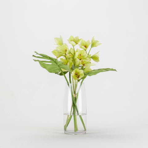 Cymbidium Orchid with Leaf in Tapered Glass Cylinder