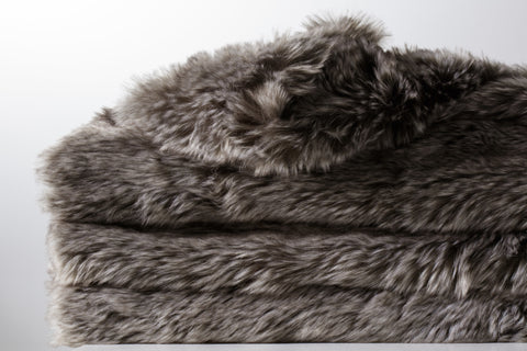 Faux Fur Throw - Arctic Grey