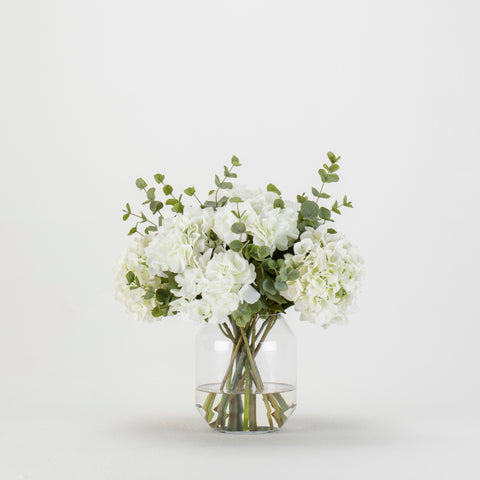 White Hydrangea Eucalyptus Bouquet in Glass Vase