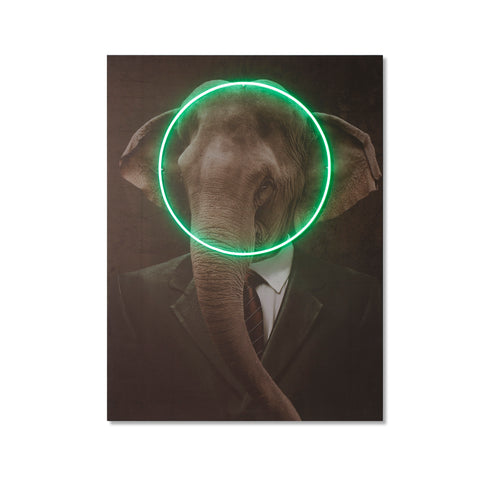 Elephant Portrait - LED Neon