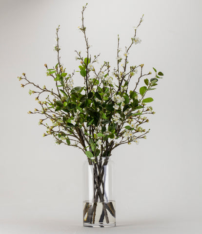Mixed Blossom and Leaves in Glass Vase