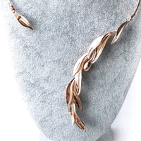 Open Cuff Collar Necklace Rose Gold with Olive Leaves - Valuli Necklace
