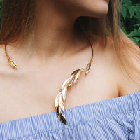 Open Cuff Collar Necklace Gold with Olive Leaves - Valuli Necklace
