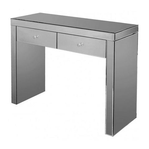 Smoke Grey Mirror Console Table with Two Drawers